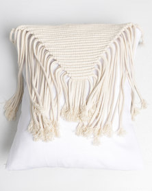 The Hand To Heart Collection Macrame Scatter Cushion Cover Modern Triangle Cream