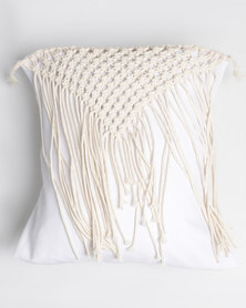 The Hand To Heart Collection Macrame Scatter Cushion Cover Geo Cream
