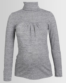 Annabella Maternity Polo Neck Grey