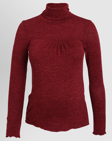 Annabella Maternity Polo Neck Red