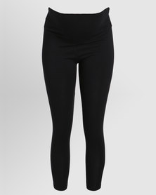 Annabella Maternity Roll Top Leggings Black