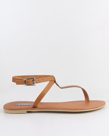 Utopia Leather Thong Sandal Cognac