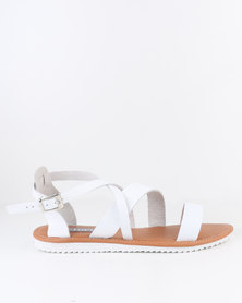 Utopia Leather Gladiator Sandal White