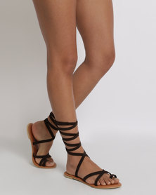 Utopia Tie Up Suede Sandals Brown