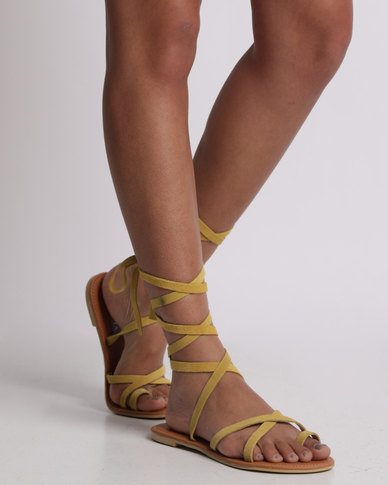 527bcfbe6 Utopia Tie Up Suede Sandal Yellow