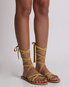 Utopia Tie Up Suede Sandal Yellow