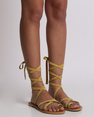 1fc48e8fddef Utopia Tie Up Suede Sandal Yellow