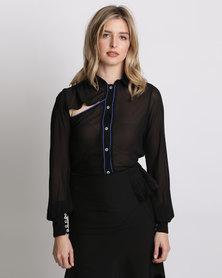 Amanda May The Cut Out Blouse With Piping Black