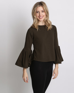 Amanda May The Pleated Sleeve Shell Top Olive