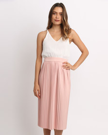 AX Paris Pleated Midi Dress Cream/Pink