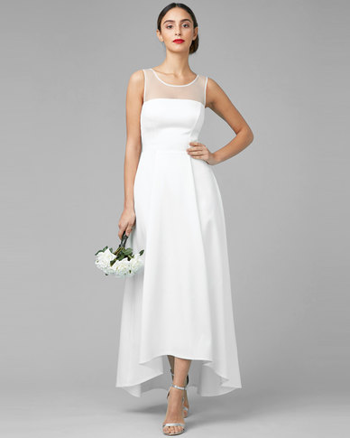 City Goddess London Sleeveless Satin Maxi Wedding Dress With Mesh Detail White