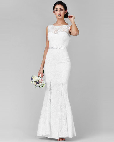 City Goddess London Open Back Maxi Wedding Dress With Embellished Belt White