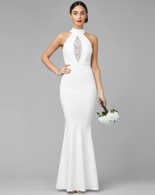 City Goddess London Embellished Maxi Wedding Dress White
