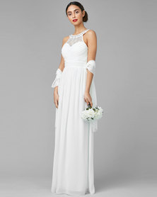 City Goddess London Embellished Chiffon Maxi Wedding Dress with Scarf Cream