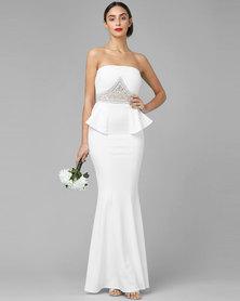 City Goddess London Embellished Peplum Maxi Wedding Dress White
