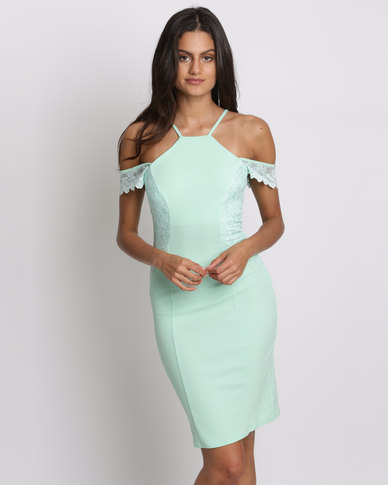 City Goddess London Sleeveless Midi Dress With Lace Detail Mint