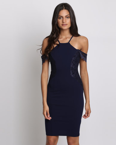 City Goddess London Sleeveless Midi Dress With Lace Detail Navy