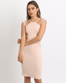City Goddess London Sleeveless Midi Dress With Lace Detail Nude