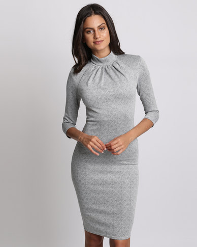 City Goddess London High Neck Midi Dress Silver