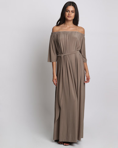 City Goddess London Off Shoulder Three Quarter Sleeve Maxi Dress With Tie Mocha