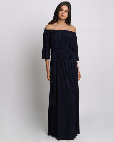 City Goddess London Off Shoulder Three Quarter Sleeve Maxi Dress With Tie Navy