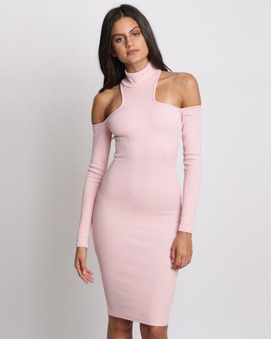 City Goddess London High Neck Cold Shoulder Midi Dress Pink