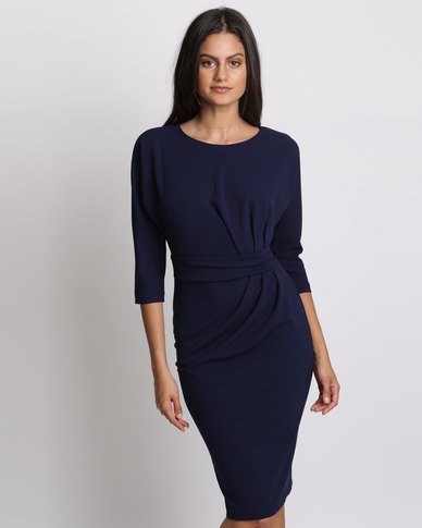 City Goddess London Three Quarter Sleeved Midi Dress With Side Pleating Detail Navy