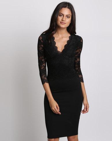 City Goddess London V Neck Lace Overlay Midi Dress Black