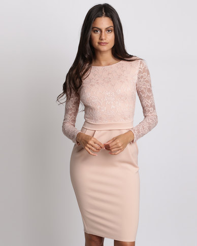 City Goddess London Long Sleeved Lace Midi Dress Nude