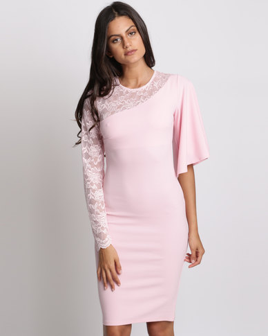 City Goddess London Asymmetric Sleeve Midi Dress With Lace Detail Pink