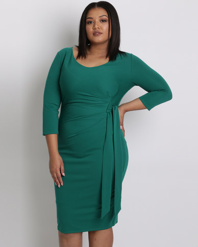 City Goddess London Plus Size Pleated Midi Dress With Tie Detail Emerald
