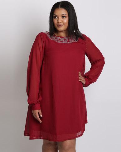 City Goddess London Plus Size Embellished Shift Dress With Long Sleeves Wine