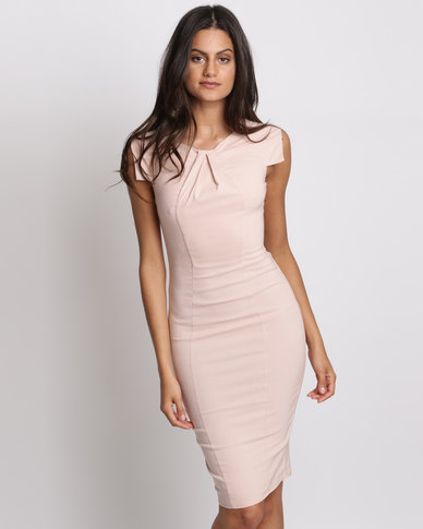City Goddess London Pleated Fitted Midi Dress Nude