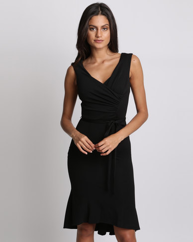 City Goddess London Pleated Midi Dress With Tie Detail Black