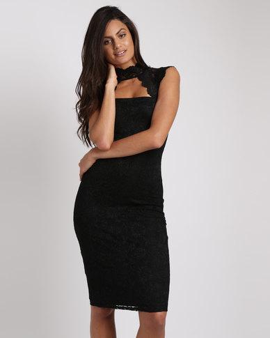 City Goddess London High Neck Cut Out Lace Midi Dress Black