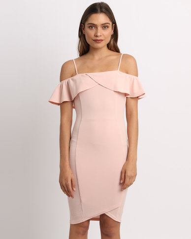AX Paris Bodycon Midi With Bardot Frill Pink