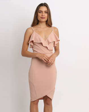 aba3e410117a4 AX Paris Frill Wrap Dress Blush
