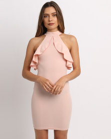 AX Paris Cold Shoulder Bodycon Dress Pink