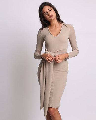c3d0218248 Utopia Long Sleeve Tie Front Dress Stone | Zando