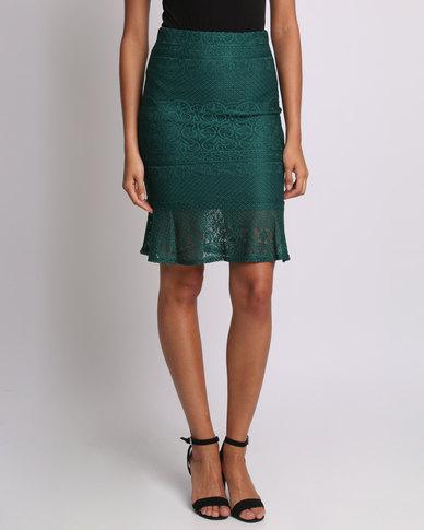 Utopia Mermaid Ruffle Lace Skirt Olive