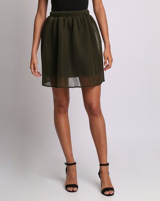 Utopia Flare Honeycomb Mesh Skirt Olive