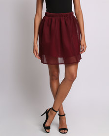 Utopia Flare Honeycomb Mesh Skirt Burgundy