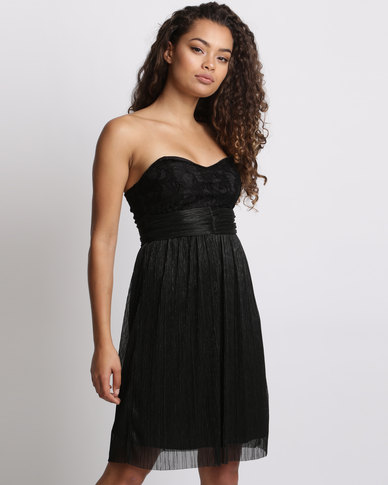 Utopia Boobtube Plisse Party Dress Black