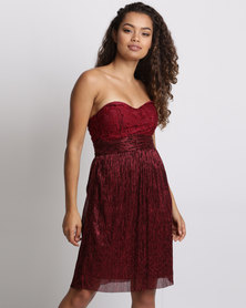 Utopia Boobtube Plisse Party Dress Bordeaux