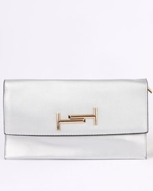 Blackcherry Bag Glam With Gold Metal Detail Clutch Bag Silver