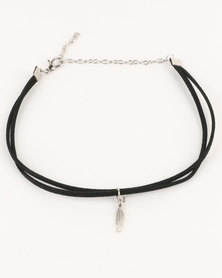 Lacey Luck Double Suede Choker with Feather Pendant Black
