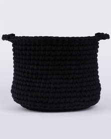 LIV Crochet Pot Plant Holder with Handles Medium Black