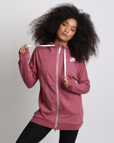 1fb380b3266e Nike Womens Nike Sportswear Gym Classic Hoodie Full-Zip Red
