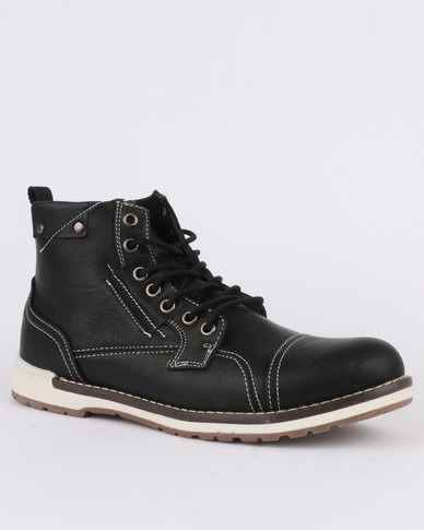 Pierre Cardin Casual Lace Up Ankle Worker Boot Black