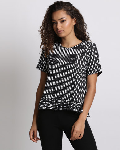 Utopia Gingham Top With Frill Black/white
